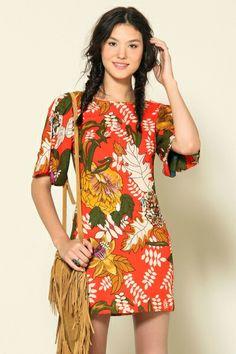 Farm - vestido com manga poliana max