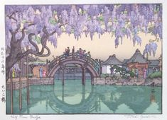 "Toshi Yoshida: ""Half-Moon Bridge"" (""Taiko Bashi"") (1941) -- Gorgeous wisteria overhanging Kameido's ""drum bridge."""