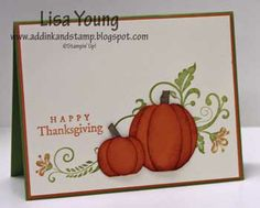 Thanksgiving card...Stampin' Up!...luv the use of the flourish stamp for a pumpkin vine...cute punch art pumkins...