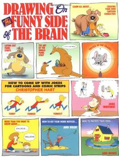 Drawing on the Funny Side of the Brain : How to Come Up With Jokes for Cartoons and Comic Strips by Christopher Hart http://www.amazon.com/dp/0823013812/ref=cm_sw_r_pi_dp_UJN1tb0VNNYH9MT8