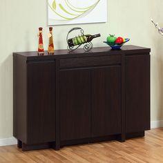 Wooden Kitchen Dining Server Buffet Table Cabinet Drawer Shelves Door Dark Brown