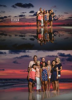 Sunset In Treasure Island Florida Family Beach Portraits in Coral, White and…