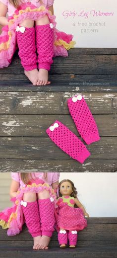 Leg warmers for my daughter AND her American Girl doll! Have you seen this free pattern for girly pink leg warmers? They are so pretty! You also get a free tutorial on how to make them to match your daughter's dolls! American Girl Crochet, Crochet Girls, Crochet For Kids, Free Crochet, Knit Crochet, American Girls, Crochet Doilies, Crochet Leg Warmers, Crochet Boot Cuffs