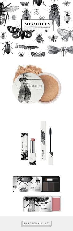 #Packaging para cosméticos con ilustraciones a una tinta. Meridian Cosmetics by Sally Carmichael. Pin curated by #SFields99 #packaging