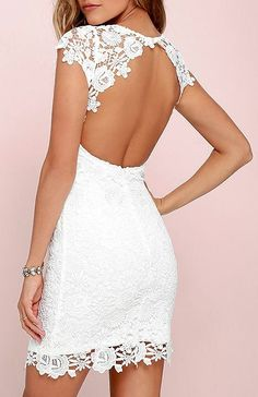 We admire any girl who can put together a great outfit, but honestly, the Hidden Talent Backless Ivory Lace Dress makes it easy! This beautiful bodycon dress has sheer cap sleeves and a backless design (with top button). Hidden back zipper/hook clasp. #lovelulus