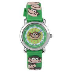 Geneva Platinum Kid's Geneva Platinum Monkey Design Silicone Strap Watch - Green, Kids Unisex