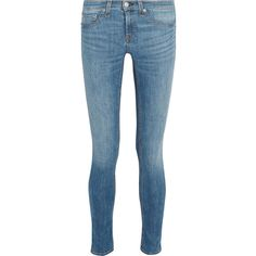rag & bone Mid-rise skinny jeans ($140) ❤ liked on Polyvore featuring jeans, pants, rag & bone, denim, stretchy jeans, skinny jeans, super stretch skinny jeans, skinny fit denim jeans and mid rise jeans