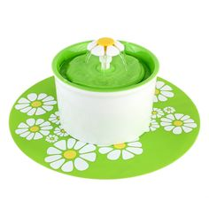PEDY Pet Flower Water Fountain Automatic Electric Circulating with Silicone pad, 1.6L, Green. >>> You can get additional details at the image link. #CatFeedingandWateringSupplies