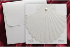 Faire-part mariage coquillage blanc http://www.tour-babel.com/faire-part-mariage-coquillage-blanc.html