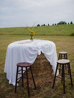 For cocktail hour...... Tables spotted around..then they can be fed to the horses