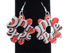 Recycled ★Dr Pepper★Soda Can Earrings Flower by SodaPopBling,   【 $6.00 】taste of Joke,The Recycled jewelry.  Recycled Soda Can.