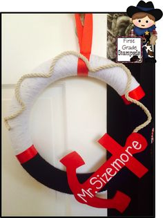 Fun Nautical themed wreath to decorate your classroom. Great addition to your classroom decor. Could be modified to meet any classroom/home decor. Easy DIY project! Nautical theme classroom