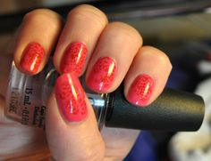 pink and red stamping manicure