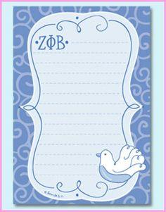Zeta Phi Beta notepad