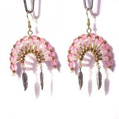 indian jewelry safty pin headpiece | 07092 Beaded Art Native American Headdress Earrings
