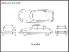 2D Vehicles: Citroen DS CAD Format: AutoCAD 2013  Block Type: 4x2D Block  Units: mm Cad Blocks, Citroen Ds, Autocad, 2d, The Unit, Type, Vehicles, Car, Vehicle