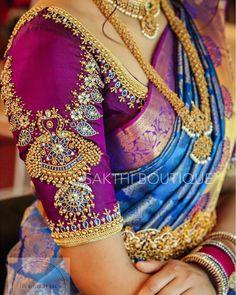 Latest Trending Silk Saree Blouse Designs To make it easier f. - Latest Trending Silk Saree Blouse Designs To make it easier f… – Latest - Indian Blouse Designs, Blouse Back Neck Designs, Wedding Saree Blouse Designs, Pattu Saree Blouse Designs, Half Saree Designs, Fancy Blouse Designs, Sari Design, Blouse Lehenga, Saree Bluse