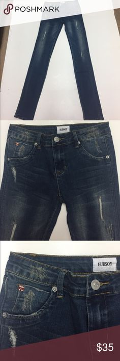 Hudson Girls skinny distressed jeans NWOT Be like Mom in these adorable jeans by Hudson. Medium wash with lots of distressing. Flap back logo pockets. 5 picket style. Zip fly with logo button close. 69% cotton, 20% poly 10% viscose 1% spandex. New without tags Hudson Jeans Bottoms Jeans