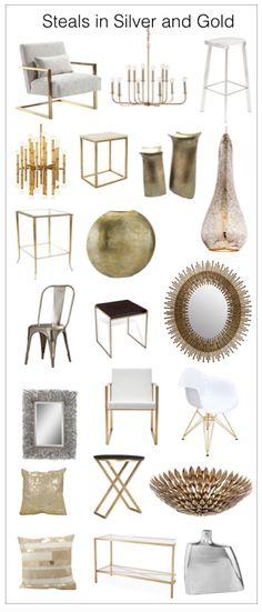 Metallic gold and silver furnishings and accessories Metallic Furniture, Design Squad, Glam Room, First Apartment, Retro Home, Interior Design Tips, Creative Decor, Metallic Gold, Nashville
