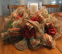 Holiday Table Centerpiece, Fall Wreath, Deco Mesh Table Decoration, Wall/Door Wreath, Table Wreath    This listing is for a small deco mesh