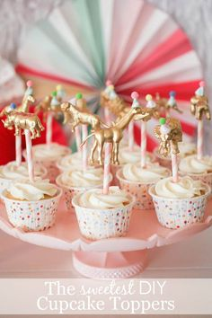 DIY Gold Animal Cupcake Toppers - such a fun and easy tutorial for your next party!