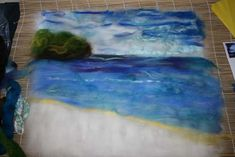 Making a needle-felted seascape.