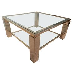 Square Chrome, Glass and Brass Trimmed Coffee Table   From a unique collection of antique and modern coffee and cocktail tables at https://www.1stdibs.com/furniture/tables/coffee-tables-cocktail-tables/