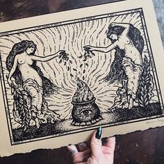 """Poison Apple Printshop on Instagram: """"With Beltane on Friday and Witches' night the prior evening, I thought it a good time to revisit this print, The Burning Rite, that…"""" Poison Apples, Modern Witch, Beltane, Smudge Sticks, Smudging, Magick, Original Artwork, Things To Think About, Vintage World Maps"""