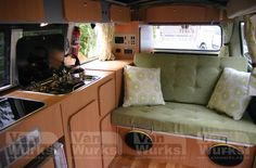 Vanwurks own unique classic interiors for VW T2 Campers. Classic Interior for Volkswagen T2 Bay Window with stylish design and excellent storage.