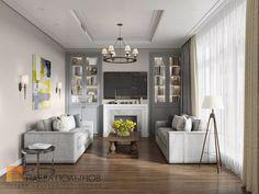 Фото: Дизайн интерьера-кухни гостиной - Интерьер загородного дома в стиле американской неоклассики, п. Токсово, 215 кв.м.