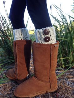 Crochet Boot Cuffs With Buttons Women's by BrotherEarthBoutique, $30.00
