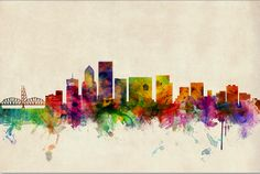 Portland Skyline digital print by Michael Thompsett