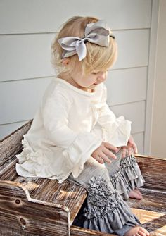 Pixie Girl Fall 2012brWhite Ruffle Back Tunic & Grey Peony Pantbr4T to 12 Years