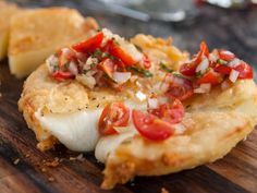 Try with vegan cheese-  Fried Provolone with Italian Salsa Recipe from Food Network