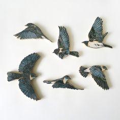 eastern blue bird woodcut sculpture print