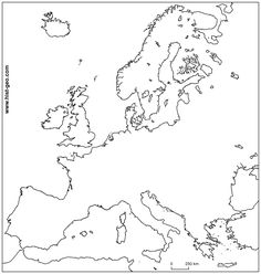 This printable outline map of Europe is to be used at home or at school for geography Old Maps, City Maps, Geography, Printable, European Countries, Outlines, Petra, School, Spa