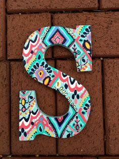 Hand Painted Lilly Pulitzer Inspired Wooden Letter S in crown jewels by PreppyLillyPatterns Cute Etsy Listing Painting Wooden Letters, Painted Letters, Monogram Letters, Hand Painted, Girl Baby Shower Decorations, Dorm Decorations, Wood Letters Decorated, Letter Door Hangers, Diy And Crafts