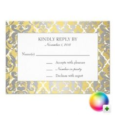 Silver and gold damask wedding rsvp cards