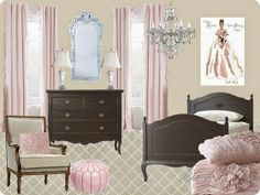 Audrey Hepburn in Roman Holiday inspired bedroom. Delicate pink bedding illustrates the gown. Crystal Chandelier and venetian mirror alludes to her jewels, Vintage alabaster and marble lamps portrays her signature pearls and fair skil. Dark furniture is similar to her dark features.