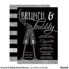 Brunch & Bubbly Bridal Shower Invite, Faux Silver Card Celebrate the bride-to-be by inviting attendees to a bridal brunch with this beautiful invitation. **Glitter and foil are embedded image of glitter and foil and will print flat. No actual glitter or foil will be on this item.** ❤ Fun wedding invites. Customize these invitations for your weddings. #invitations #invites #weddings - affiliate ad link.