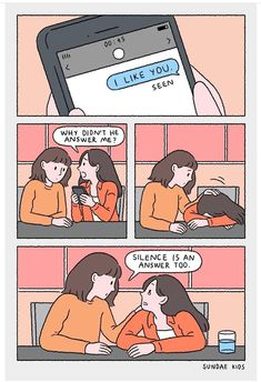 """Silence is an action too. Cute Couple Comics, Couples Comics, Comics Love, Cute Couple Cartoon, Cute Couple Art, Cute Comics, Funny Comics, Heartbreak Art, Sundae Kids"