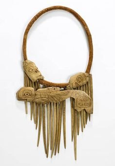 Alaska ~ Alexander Archipelago ~ Baranof Island/Sitka. | Medicine Man's necklace. Tlingit people. Leather with bone ornaments. ca. 1921