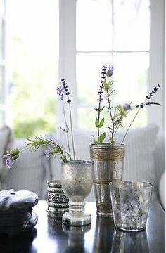 lavender,silver and  mercury glass.. a lovely combination