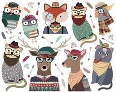 Hipster Tiere Clipart 300 DPI PNG & von KennaSatoDesigns auf Etsy