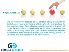 Conveyancers Melbourne help make contract regarding property transaction after which it finds that whether or not their client had see the contract or not at length. After that they also ensure that they signed on the contract or not really. - See more http://www.compareconveyancingmelbourne.com.au/conveyancing/professional-conveyancing-services.php