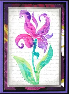 https://flic.kr/p/v7mTWn | Greeting Card - Iris Abstract | Greeting card created with: - Purple cardstock  - Black cardstock and Recollections paper for background - Glossy cardstock for main image, which was stamped with text stamp; Iris stamp was painted with Marvy Matchables ink and stamped on panel - Stamp Credits: Text by Rubber Stamp Ave; Iris stamp hand carved by me - Card measures 5 x 7