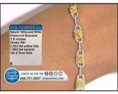 4.22 ctw Yellow & White Diamond 18K 2-Tone Bracelet, Length 7.5 inches