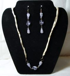 Lavender Agate Flower & Czech Glass Braided Ribbon Necklace & Earrings Set - FREE Shipping!