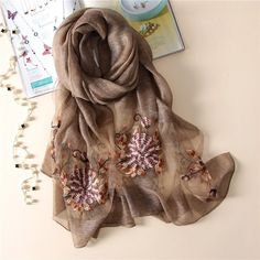 Women's Scarves Spring New Women Silk Scarf Retro Printing Silk Korean Version Summer Shawl Embroidery Holiday Sun Screen Scarf For Ladies Girl Products Hot Sale