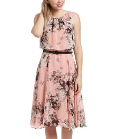 Look at this SL Fashions Pink Floral Tiered Dress on #zulily today!
